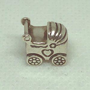 Pandora silver stroller carriage charm
